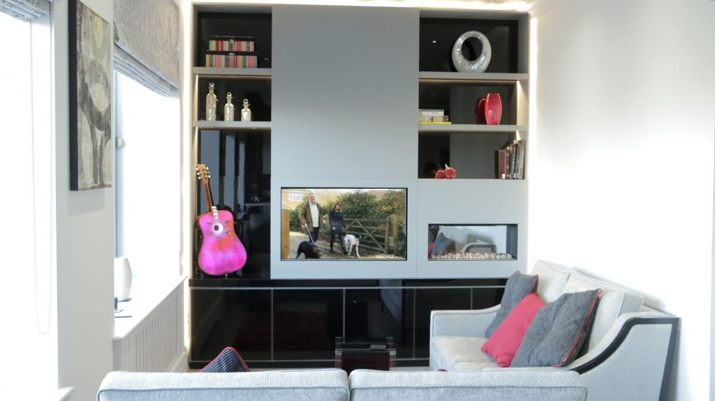 Interior Design Services London - Large custom made large TV unit front view