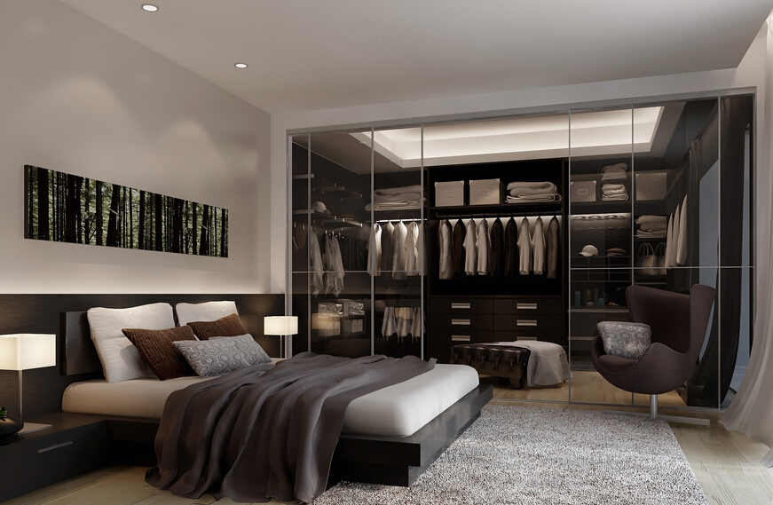 Interior Design for modern bedroom with dressing room