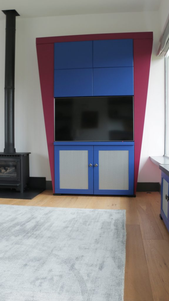 Red and blue Art Deco TV unit