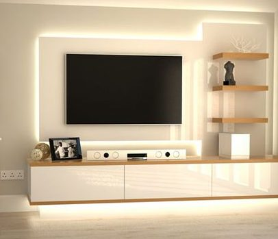 Stylish media unit with floating TV and LED lighting