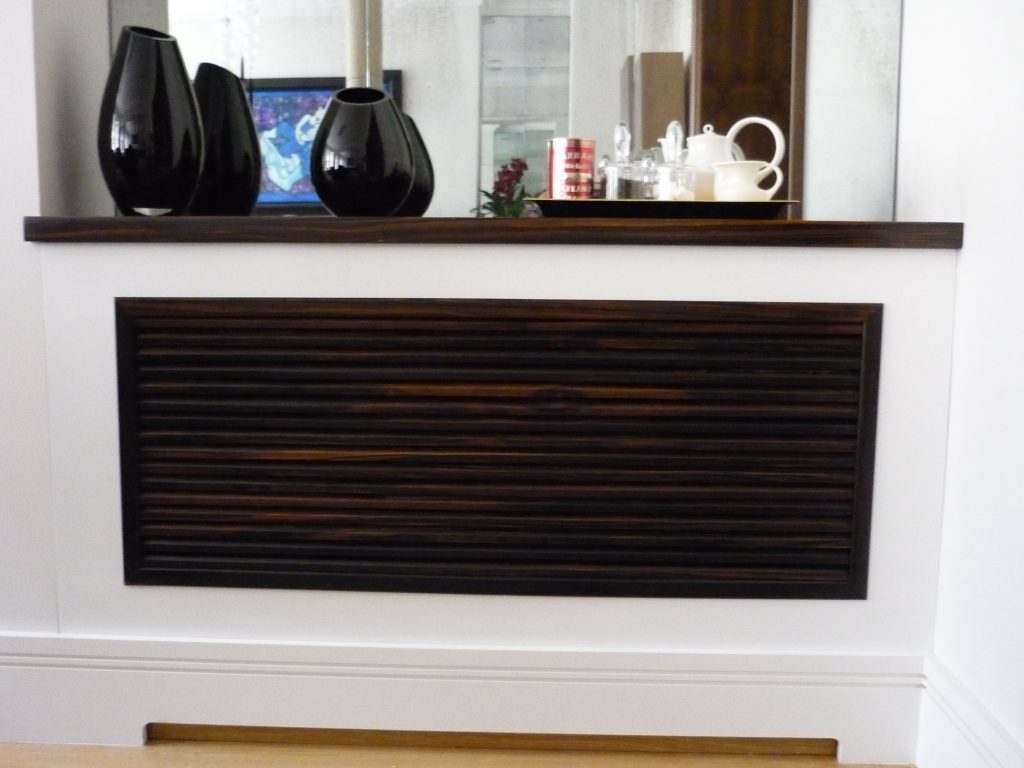 Custom made white and walnut radiator cover