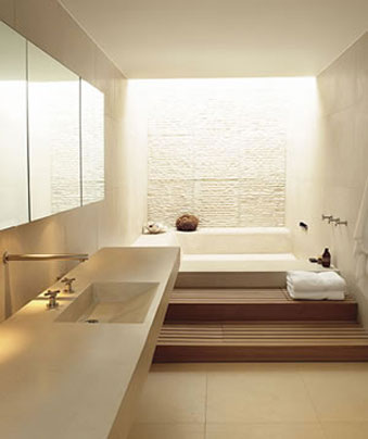 White bathroom designed with stone and wood