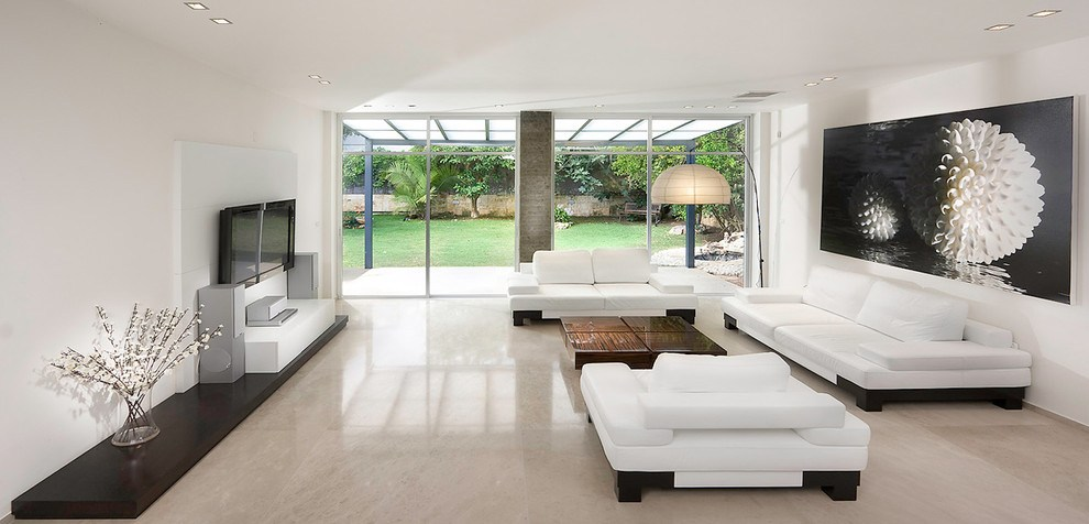 Concrete Flooring in white open space living room example