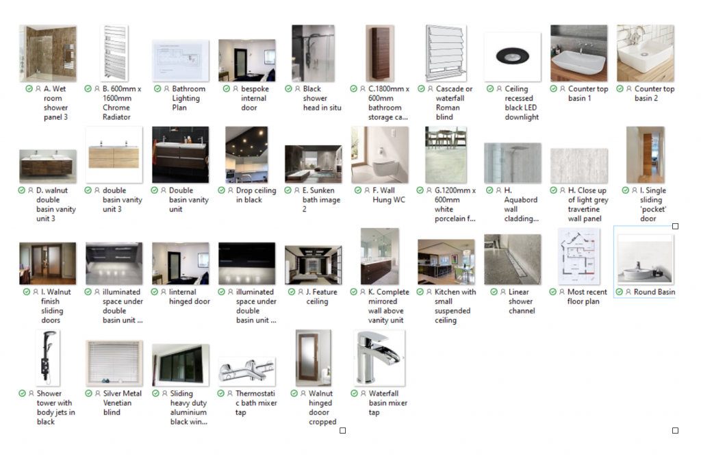 Selection of materials for Interior Design project